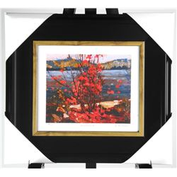 """Group of Seven Studio Panel - """"Lake and Red Tree"""" By Tom Thomson. 15x17 Inches."""