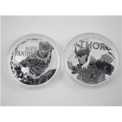 Lot (2) .9999 Fine Silver Marvel Coins. Thor and B