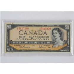 Bank of Canada 1954 - Fifty Dollar Note. B/R