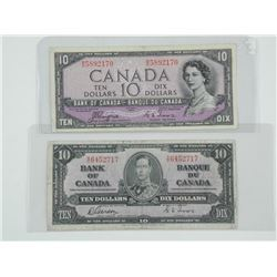 Lot (2) Bank of Canada 10.00 1937 - (GT) and 1954