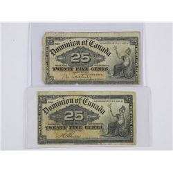 Lot (20)1900 Dominion of Canada 25 Cent Notes. 2 S