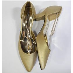 Ladies Moonlight Gold Satin Shoes. Size 10W. NEW
