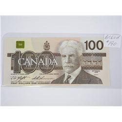 Bank of Canada 1988 One Hundred Dollar Note. UNC.