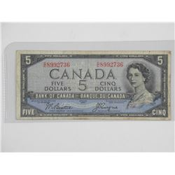 Bank of Canada 1954 - Five Dollar Note Devil's Fac