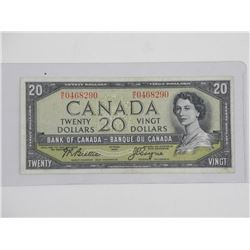 Bank of Canada 1954 - Twenty Dollar Note. Modified