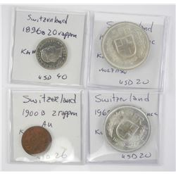 Lot (4) Coins of Switzerland - 1896, 1900, 1967b,