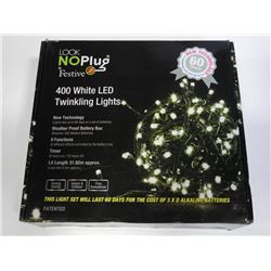 No Plug - Festive 400 White LED Twinkling Lights W