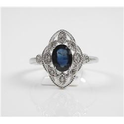 925 Sterling Silver Custom Ring with Oval Blue Sap
