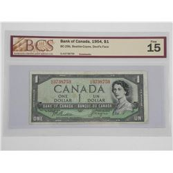 Bank of Canada 1954 One Dollar Note. Devil's Face