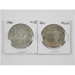 Lot (2) 1960 and 1967 Silver Dollars (1967 MS60) (