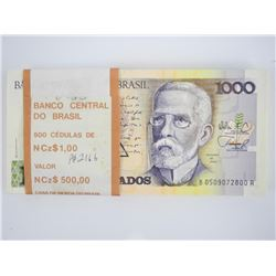 Original Bank Brick (100) Notes Brasil - 1000 'Cru
