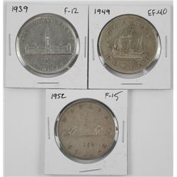 Lot (3) CAD Silver Dollars: 1939-F 12, 1949 EF40,