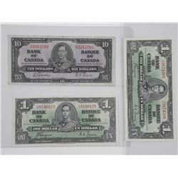 Lot (3) Bank of Canada 1937 notes. 2 x One Dollar