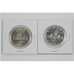 Lot (2) 1939 and 1954 Canada Silver Dollars