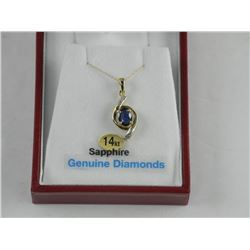 Ladies 14kt Fancy Pendant and Chain 1ct Oval Blue