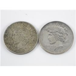 Lot (2) USA Silver Peace Dollars: 1922 and 1934