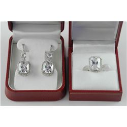 925 Sterling Silver, Matched Earring and Ring Set,