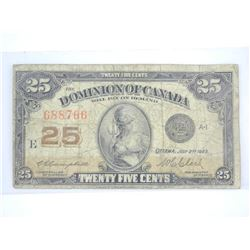 Dominion of Canada - Twenty Five Cent Note. July 1