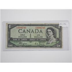 Bank of Canada 1954 One Dollar Note, Devil's Face