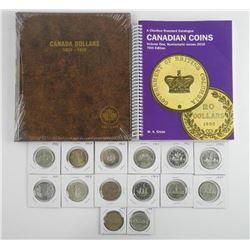 Canada Silver Dollar Collection. 14 Coins with Alb