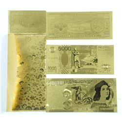 Lot (3) 24kt Gold Leaf Collector notes with C.O.A.