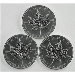 Lot (3) .9999 Fine Silver Maple Leaf Coin $5.00 20