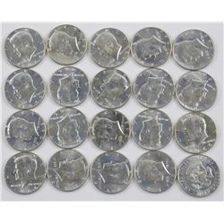 1966 Tube Lot - 20 Kennedy UNC Silver 50 Cent (CE)