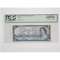 Bank of Canada 1954 * Replacement 5.00 (RX) UNC 64