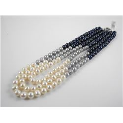 "Triple Strand Freshwater Pearls 18-22"" 3 Colour H"