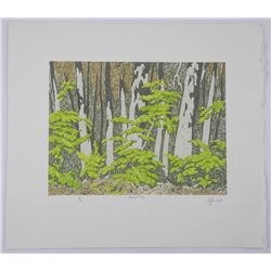 "Rare - A.J. Casson (1898-1992) ""Forest Edge"" Lino Block. Hand Signed by The Artist. Appraisal and Ce"