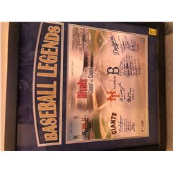 FRIDAY BASEBALL LEGENDS SIGNED FRAMED PRINT WITH COA