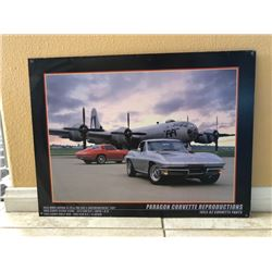 PARAGON CORVETTE PRINT FEATURING 1943 WWII BOEING B-29, 1966 COUPE SILVER PEARL, 1965 COUPE RALLY RE