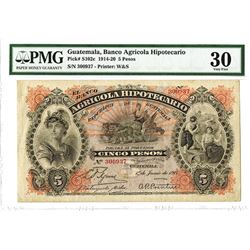 Banco Agricola Hipotecario, 1917 Issued Banknote.