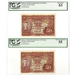 Board of Commissioners of Currency Malaya, 1941 (1945) Sequential Banknote Pair.