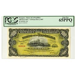 Republica Del Paraguay, L.1907 Issued Banknote.