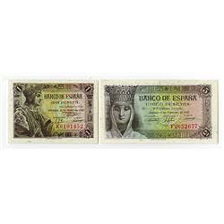 Banco de Espana. 1943. Pair of Issued Notes.