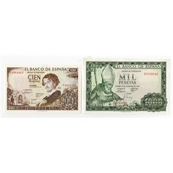 Banco de Espana. 1965. Pair of Issued Notes.