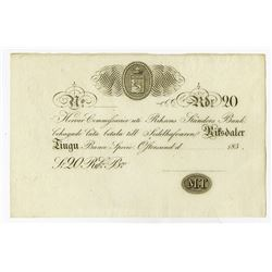 Riksens Standers Bank, 183x (ca.1830's) Remainder Private Banknote.