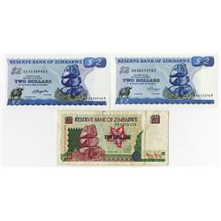 Reserve Bank of Zimbabwe, 1980-1997, Trio of Issued Notes.