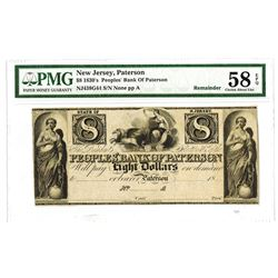 Peoples' Bank of Patterson, 1830's Remainder Obsolete Banknote.