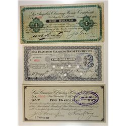 Los Angeles & San Francisco Clearing House. 1907. Trio of Issued Panic Scrip.
