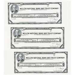 Mellon National Bank & Trust Traveler's Cheque Proof Trio.