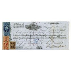 New Orleans August 5th, 1865 1st of Exchange Payable in Rhode Island with 3 U.S. Adhesive Revenue St