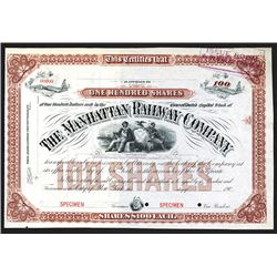 Manhattan Railway Co. 190x Specimen Stock Certificate.