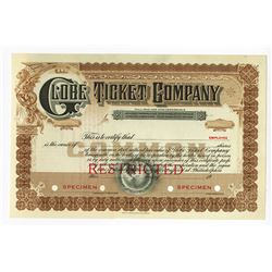 Globe Ticket Co., 1920s Odd Shrs Specimen Stock Certificate.