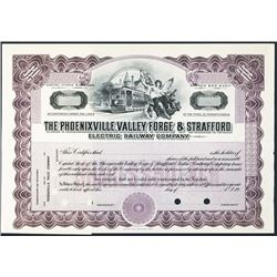 Phoenixville, Valley Forge & Strafford Electric Railway Co., ca.1930-1940 Specimen Stock Certificate