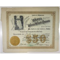 Wahoo Water Works Co., 1908 Issued Stock Certificate