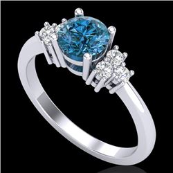 1 CTW Fancy Intense Blue Diamond Solitaire Engagement Classic Ring 18K White Gold - REF-130W9F - 375