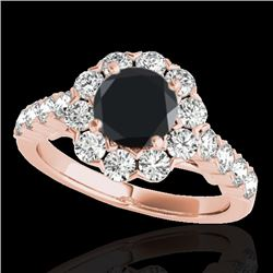 3 CTW Certified VS Black Diamond Solitaire Halo Ring 10K Rose Gold - REF-138W2F - 33557