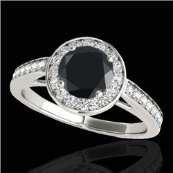 1.45 CTW Certified VS Black Diamond Solitaire Halo Ring 10K White Gold - REF-65F3N - 33799